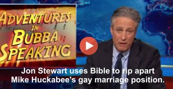 Jon Stewart rips apart Mike Huckabee's gay marriage position with the Bible