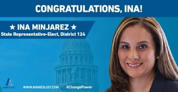 Ina Minjarez, Annie's List, Texas House District 124