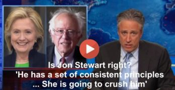 Jon Stewart Bernie Sanders Hillary Clinton 2