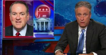 Jon Stewart uses Mike Huckabee to illustrate the Trump-ification of GOP Primary.
