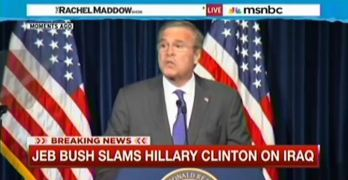 Jeb Bush sounding like his brother with drumbeat to war speech