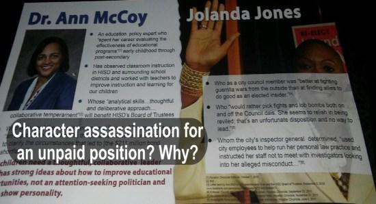 Jolanda Jones, Ann McCoy, Character Assassination, HISD District 4