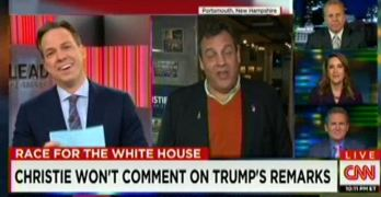 CNN Jake Tapper laughs as Chris Christie cowers in response to Donald Trump's vulgar comments (VIDEO)