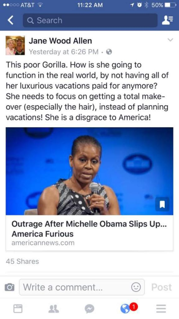 Teacher Jane Wood Allen Facebook Michelle Obama racist post