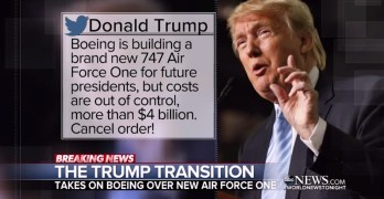 ABC World News Tonight scrutinizes Trump's Boeing tweet and Carrier deal. About time (VIDEO)