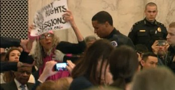 Protests erupt in chamber at Jeff Sessions Attorney General hearings (VIDEO)