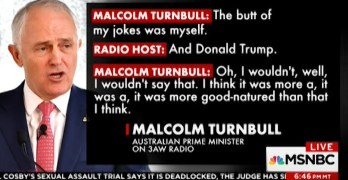 Australian Prime Minister make fun of Trump by parodying him as audience laugh uncontrollably (VIDEO)