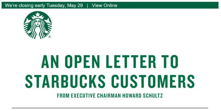 Starbucks Letter header on closing