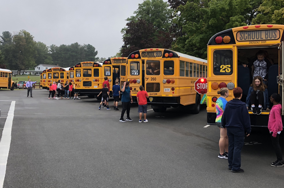Students Practice Bus Safety Drill