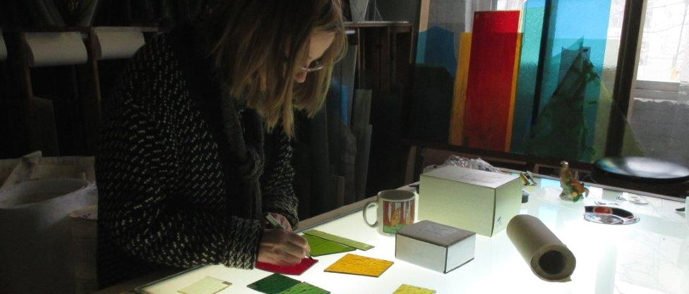 Choosing colour glass samples for St. Mary Magdalene Church,Toronto for a new commissioned memorial stained glass window