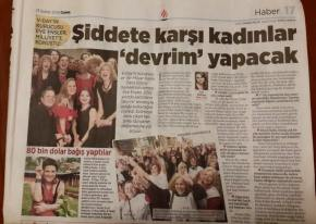 Interviewing Eve Ensler for Milliyet Newspaper, Turkey. Spreading the message of empowering women.