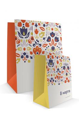 Бумажный пакет к 8 марта «Цветочная поляна» 2 типа