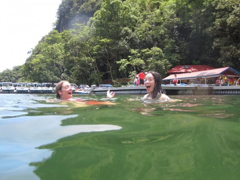 Swimming at Dayang Bunting lake