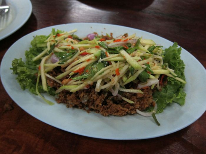Fried catfish mango salad in Surat Thani