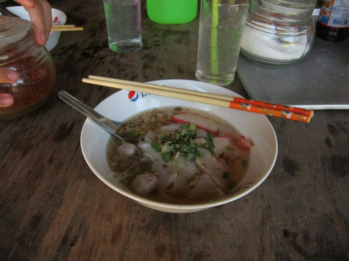 Here is Ancha's kuay teow nam. It was 25 baht, or $1.04 NZD. A completely ridiculous price.