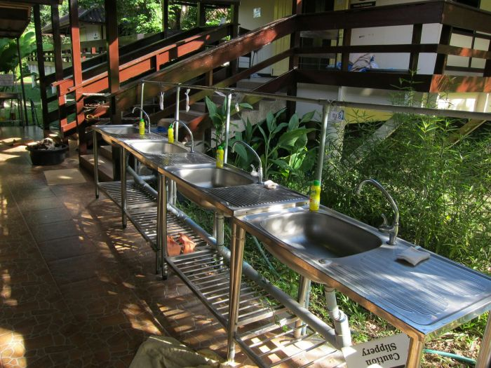 Washing area. We had our own plates, bowls, cups and utensils, and washed them after meals.