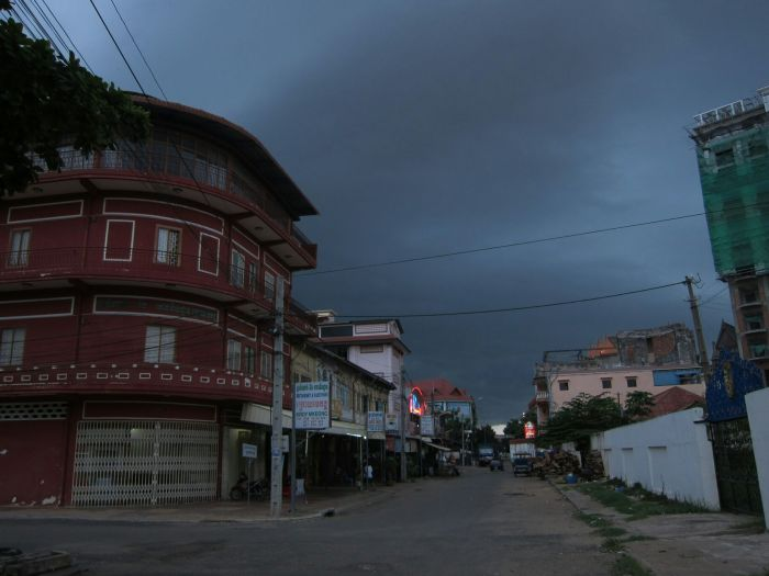 A storm brewing upon the street which our chalet stood.