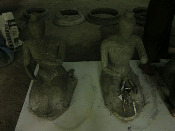 New figures were being sculpted in a damp, dingy, concrete room.