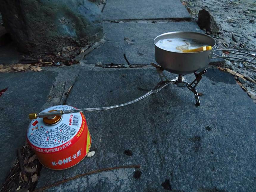 We used our camping cooker for the first time: miso with noodles.