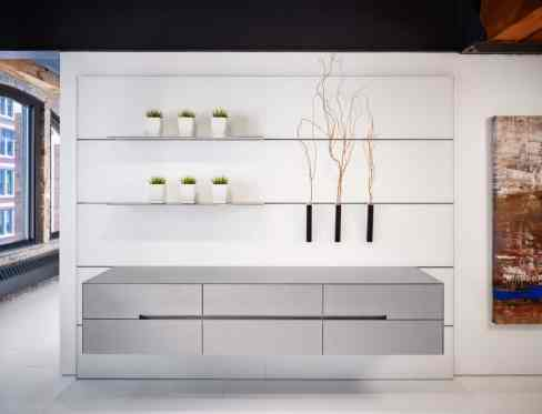 Floating Credenza in Silver Touch Hot Rolled Steel