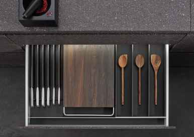 BoxTec - Smoked Oak cutting board with handles, knife block, utensil storage