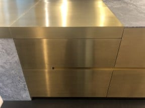 Solid Brass & Macaubus Giotto honed quartzite