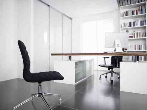 eggersmann luxury german-made cabinetry in a white office with oak desktop