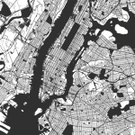 black and white map of new york city indicating location of an eggersmann showroom