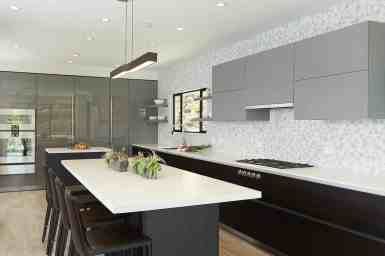 the moussa kitchen project completed by eggersmann la features a wall sleek integrated appliances and pantires