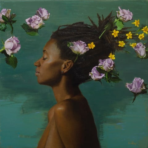 michael van artwork of a womanwith flowers floating around her head featured in the eggersmann showroom during the chicago rndd gallery walk 2019