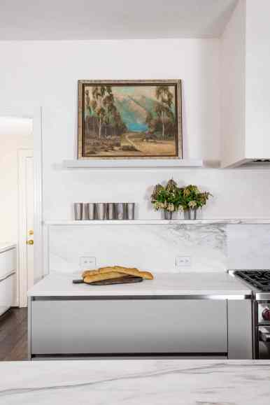 meg lonergan's nook designed into an eggersmann german kitchen featured in a remodel of a 1939 home in the Houston Museum district