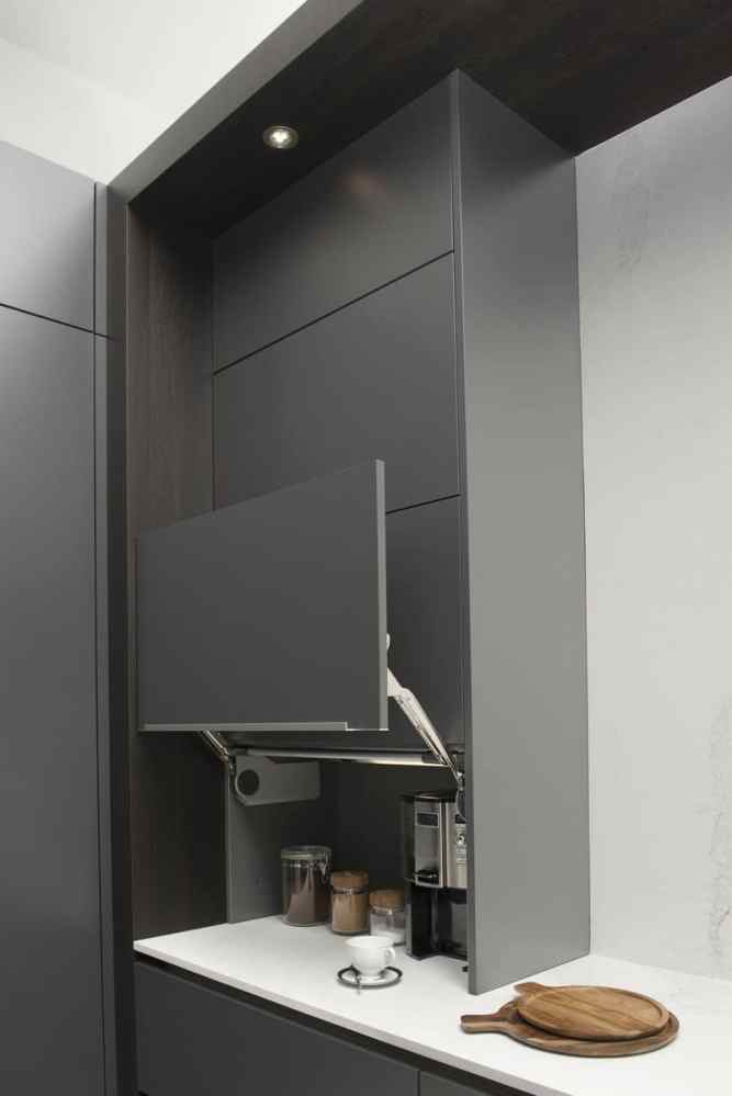 coffee bar with fold up door in eggersmann german cabinetry