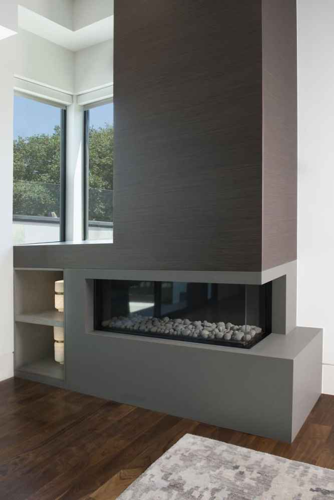 master bedroom fireplace and niche designed and installed by eggersmann