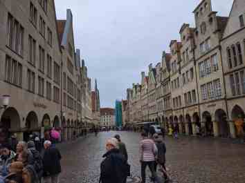 beautiful architecture on a cobbled street in muenster germany
