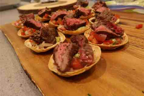 beef tostados prepared by chef petr at making function fabulous event at eggersmann la