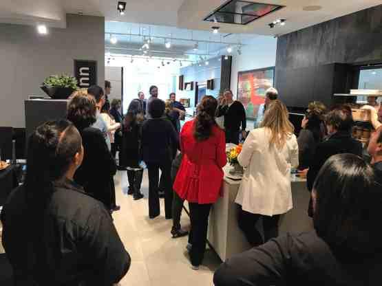attendees of a january 2020 estate master class touring the eggersmann kitchen and living displays at eggersmann la