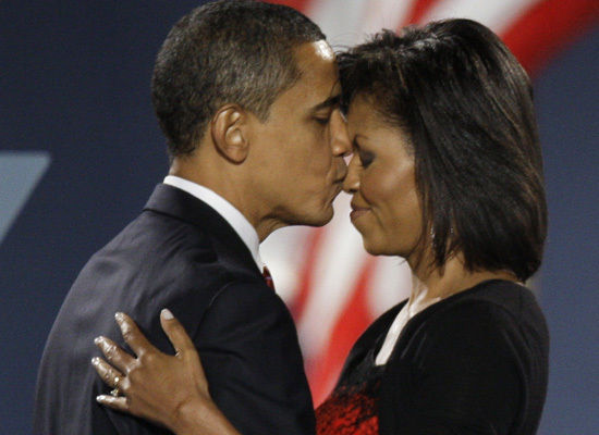 Michelle and Barack Victory Kiss