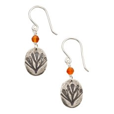 "CP-E-01, California Poppy Earring, Small. SS, Carnelian; 1"" L. Wholesale: $22. $300 total minimum on first wholesale order."