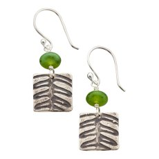 "NF-E-01, Fern Earring. SS, Canadian Jade. 7/8"" L. Wholesale $23. $300 total minimum on first wholesale order."