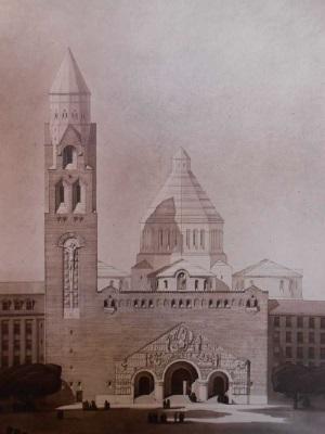É. Bois, projet pour l'église de Chaillot, v.1928 (© AHAP, 1D-3D).