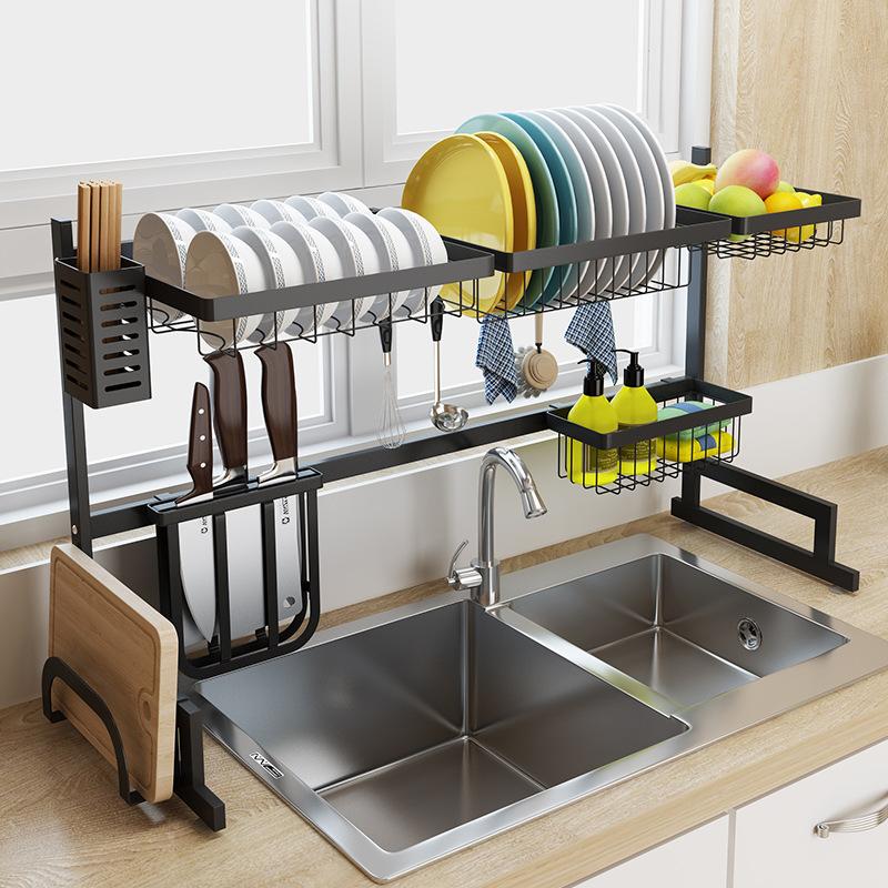 Black Stainless Steel Kitchen Rack Sink Sink Dish Rack Drain Bowl Rack Dish Rack Kitchen