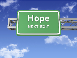 Road Sign with Hope and Sky