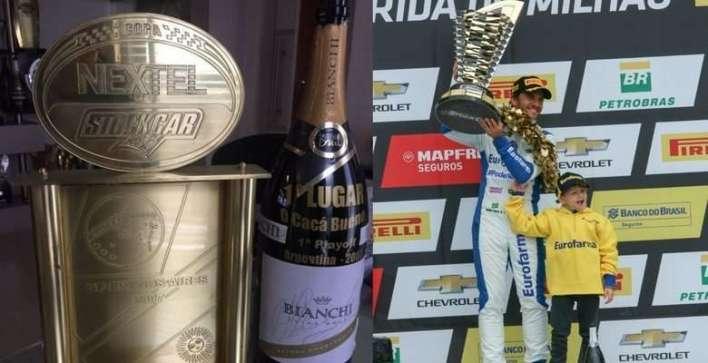 Champagne e troféu de 2007 em Buenos Aires - Divulgação - Daniel Serra no pódio Foto - Vanderley Soares