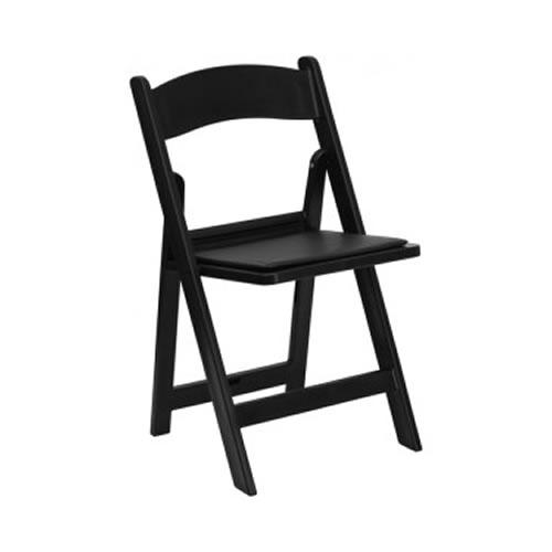 folding chair rental chicago upholstered revolving garden chairs black wood resin plastic