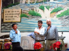 Pastor Gene preaching in English with Ted translating to Spanish and Rigoberto translating to Kekchi