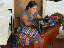 Marta working on her beautiful weavings