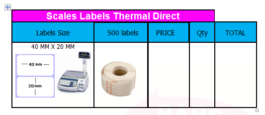 SCALES BARCODE LABELS