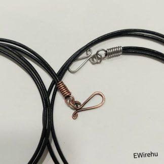drótékszer - dupla szálas fekete bőr nyaklánc drót kapoccsal