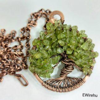 drótékszer olivin/peridot életfa medál