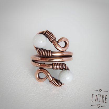 drótékszer kalapált réz drót gyűrű 12